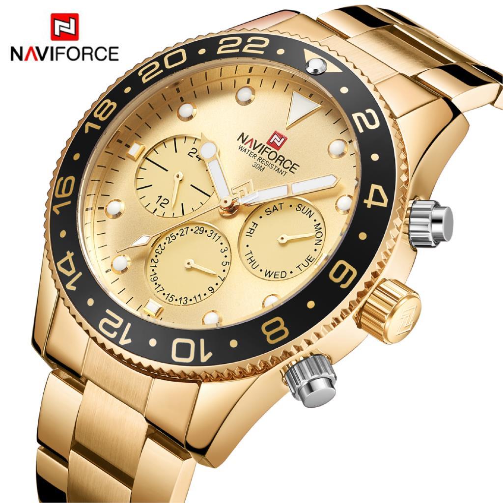 NAVIFORCE Hommes Montre À Quartz Analogique De Luxe Date Semaine Mode Sport 3ATM Étanche Montre-Bracelet D'or Homme Horloge Relogio Masculino