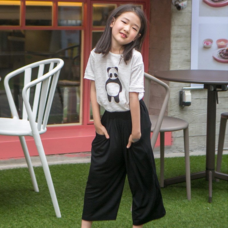 Buy children clothing girls two piece sets character 2017 summer girls sets kid clothes t shirts loose wide leg pants clothes suits