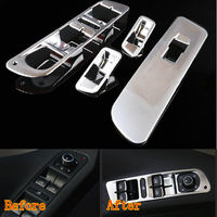 BBQ FUKA 4pcs ABS Car Styling Window Mirror Switch Control Button Cover Trim For VW Tiguan