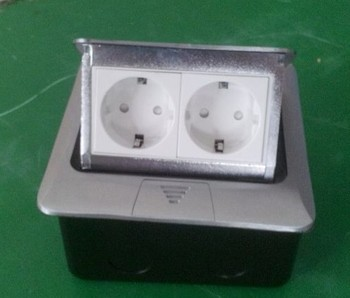Silver aluminum pop up floor socket 2EU power for Russian and European country earthed plug socket case