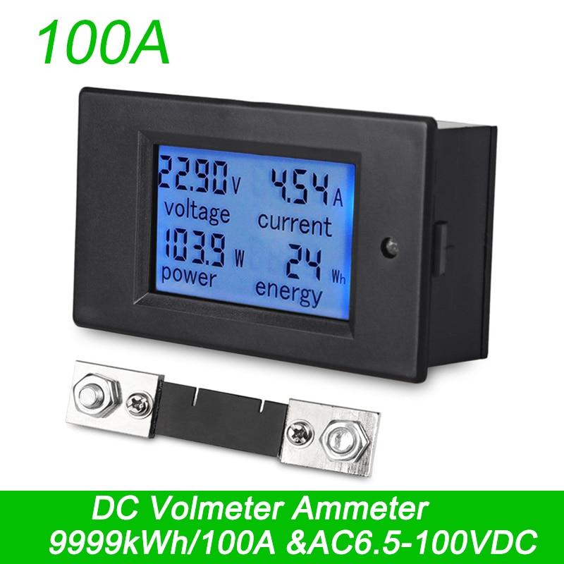 LEDSMITH 4 en 1 Combo Digital del voltímetro del amperímetro DC 6,5-100 V 100A amperio voltaje energía Tester azul panel LCD Moduel derivación