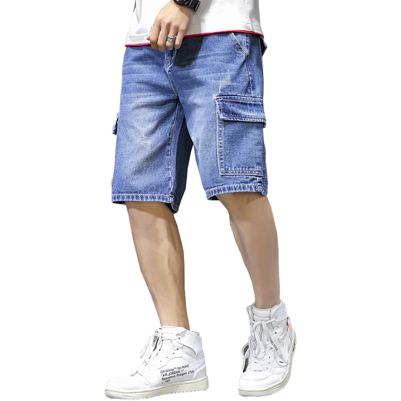 2019 Summer Style  Loose Baggy Denim Short Men Jeans Fashion Streetwear Hip Hop Cargo Shorts Pocket Bermuda Male Blue LBZ100