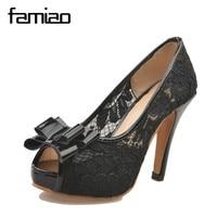 FAMIAO Women S Sexy Peep Toe Lace Party Shoes Fashion Hollow Platform Bowtie Pumps 2018 New