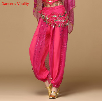 Women Belly Dance Pants India Dance Stage Performance Harem Pants For Women/lady's Dance Practice Show Sequined Wide Leg Pants фото