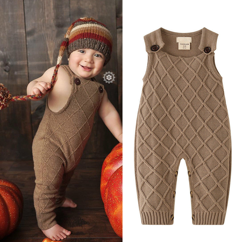 New 2018 Autumn Winter Baby Boys Knitted Romper Sleeveless Cotton Plaid Overalls Infant Girls Jumpsuit Onesie Playsuit Clothes