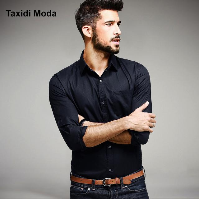 2017 Primavera Mens Camisas Casual 100% Algodão Cor Preta Marca clothing desgaste de manga longa para o homem slim fit negócio sólido roupas