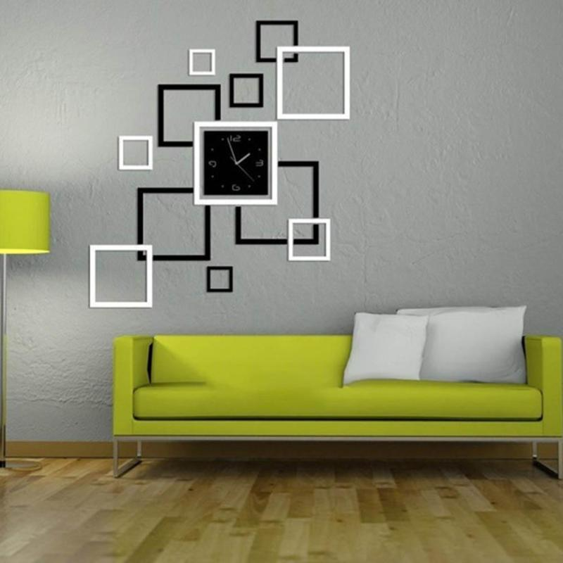 Perfect Creative Acrylic Mirror Frame Art Mirror Wall Stickers Living Room  Geometric Modern Wall Decoration Mirror Clock