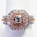 Gorgeous Nobel Asscher Anillo de Compromiso de Diamante Natural 0.95 cttw Diamante Verdadero 14 k 585 Sólido Blanco Oro Rosa Joyería de La Boda anillos