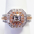 Gorgeous Nobel Asscher Natural Diamond Engagement Ring 0.95cttw Real Diamond 14k 585 Solid White Rose Gold Jewelry Wedding Rings