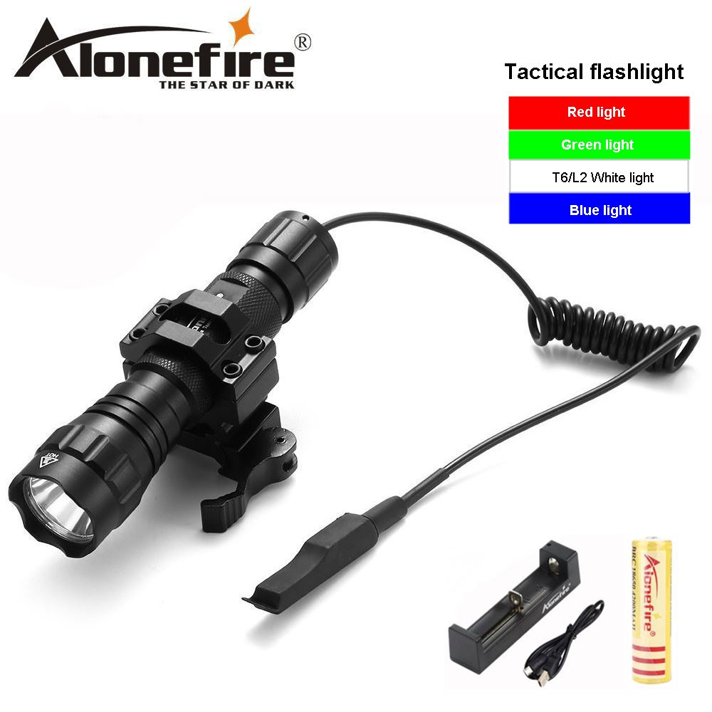 AloneFire 501Bs Tactical Flashlight T6 L2 flash lights 501B LED Hunting Rifle Torch Gun Mount+Remote Switch