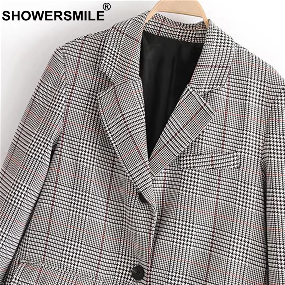 Manteau À Showersmile Manches Blazers Plaid Longues Poule Costume Tartan Vestes Gray Printemps Blazer Femmes Coton Vintage Britannique Carreaux RwIBzqwx