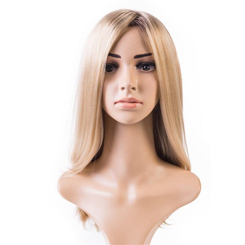 Gres Blonde Gradient Hohe Temperatur Faser Synthetische Haar Stück Lange 20 zoll Maschine Made Side Abschied Perücke für die Weiß frauen