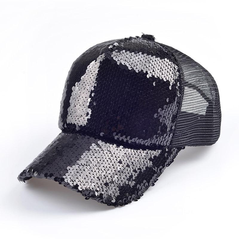 Prix pour 2016 new summer noir Paillettes baseball caps pour les femmes Maille chapeau net casquette Mousseux Loisirs chapeau du soleil Réglable taille adulte