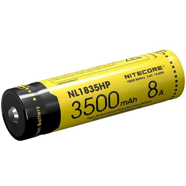 2018 Nitecore NL1835HP High Performance 18650 3500mAh 3.6V 12.6Wh 8A Protected Li-ion Button Top Battery for High Drain Devices