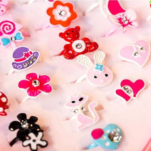 10 шт./лот милые детские кольца с изображением цветов и животных, модные ювелирные изделия, аксессуары для девочек, детские подарки, кольца на палец, шикарный подарок