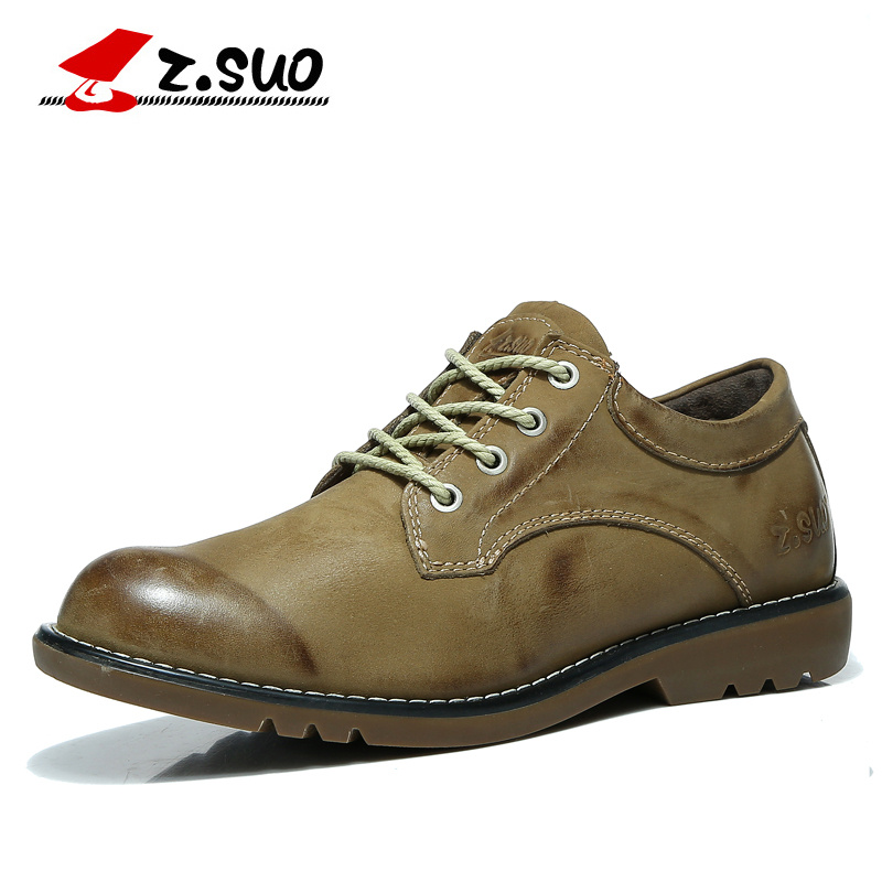 Z. Suo Brand Fashion Brush Color 100% Genuine Leather Mens Tooling Shoes Spring Autumn Low Top Lace Up Leather Casual Shoes replacement projector lamp with housing poa lmp122 610 340 0341 for sanyo lc xb21b plc xw57 plc xu49 projector 3pcs lot