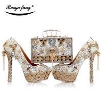 Роскошные Cyrstal свадебные туфли с Сумочки в комплекте женская модная обувь на высоком каблуке Для женщин праздничное платье обувь на платфор