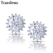 Transgems Sunflower Shape 14K White Gold Center 1ct 6.5mm FG Color Clear Moissanite Halo Stud Earring for Woemen Push Back