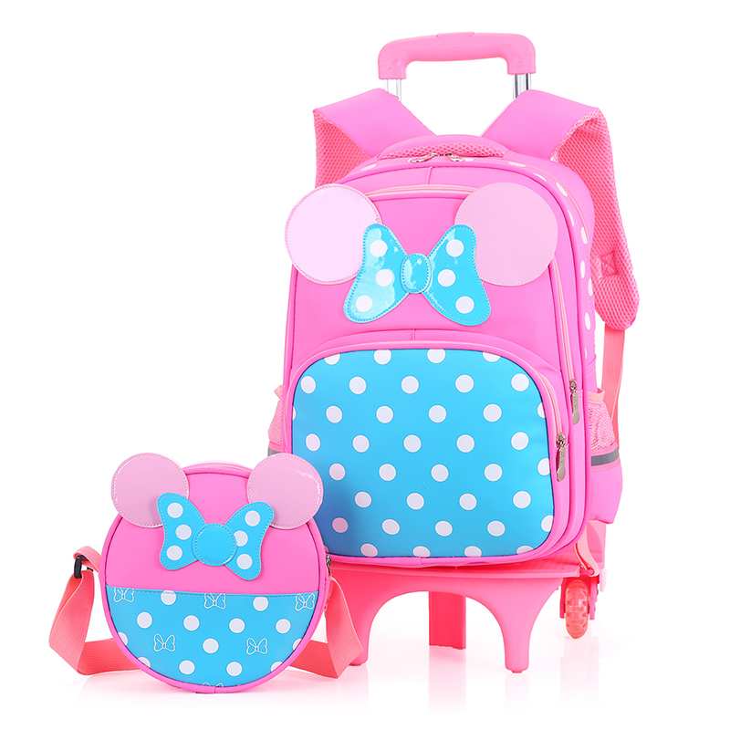 ФОТО 2017 Cartoon Mouse pink dot bow Bowknot school bag set for Girls Kids Trolley School Bags with High six wheels Mochila Escolar