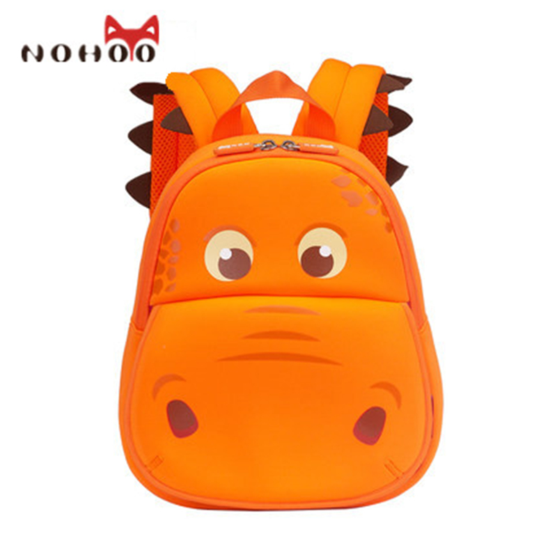 NOHOO Waterproof School Bags for Teenagers Girls Cartoon Hippo Children School Backpack for Kids Boys