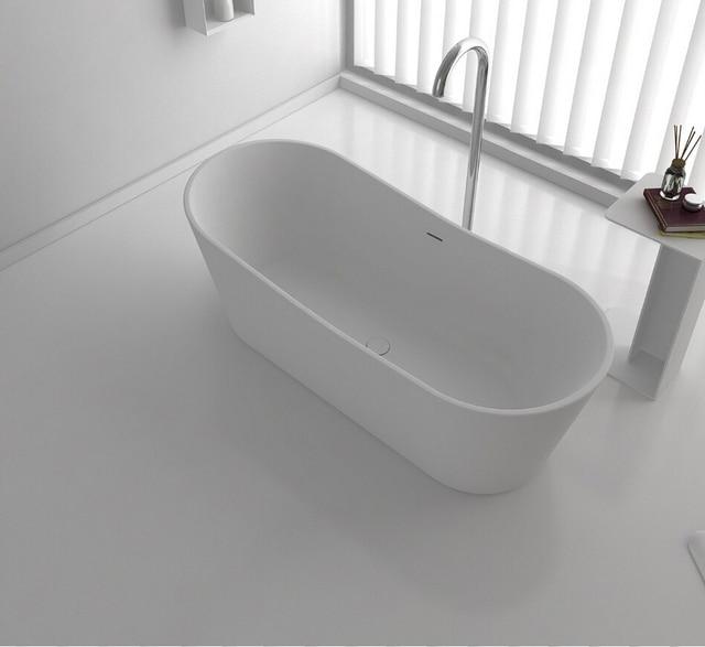 1650x700x600mm Quartz Cupc Roval Bathtub Oval Freestanding Solid Surface Stone Tub Rs65121