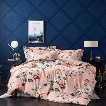 2019 Comforter Bed Set Printed Egyptian Cotton Bedding Set Duvet Cover Bedding Sets Pillowcases BedSheet M-Series Pink Mona