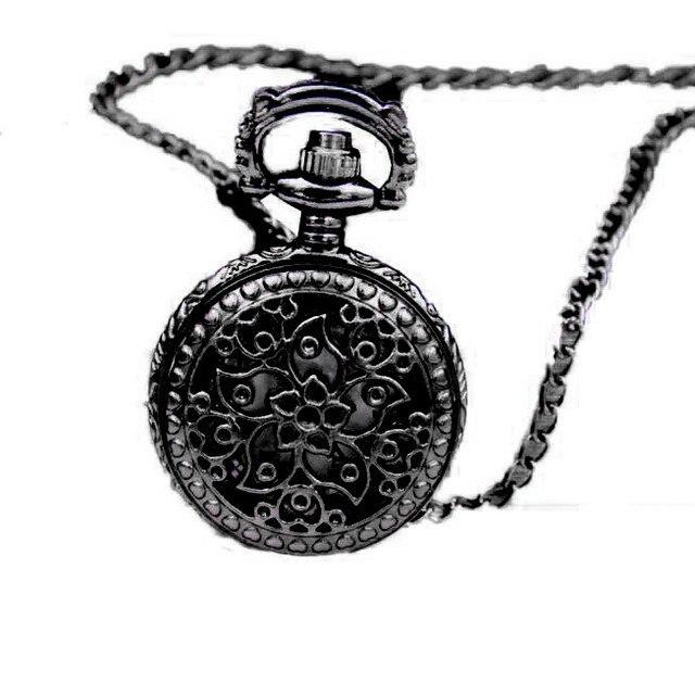 #5002Fashion Vintage Retro Bronze Quartz Pocket Watch Pendant Chain Necklace DRO
