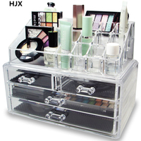 Acrylic Makeup Cosmetic Jewelry Organizer Conceal Lipstick Eyeshadow Brushes Storage Drawers Display Boxes Two Pieces Set