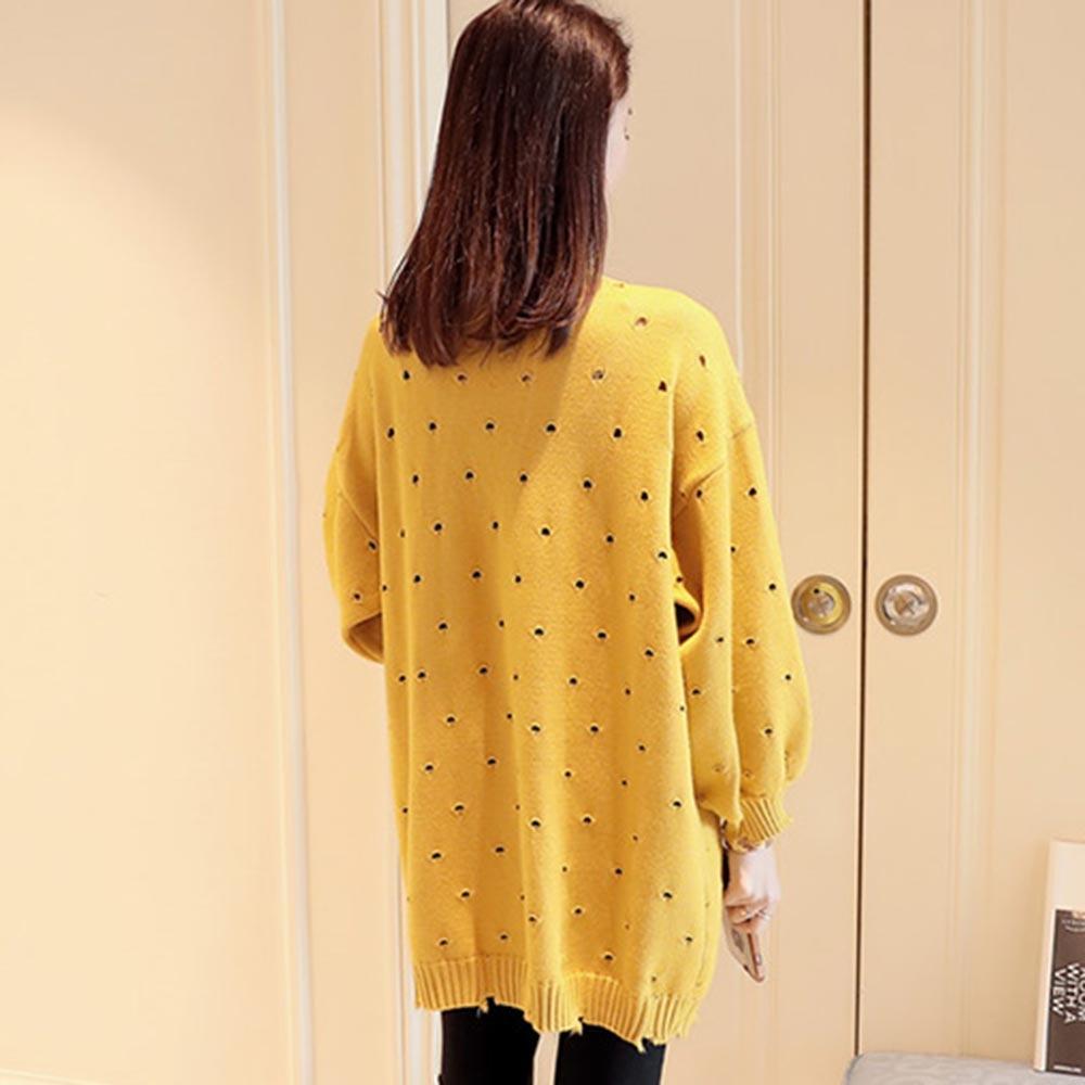2018 Women Autumn Cardigan Knitwear Long Coat Korean Style Solid Hollow Lantern Sleeve Casual Sweater Fashion Warm Loose Outwear