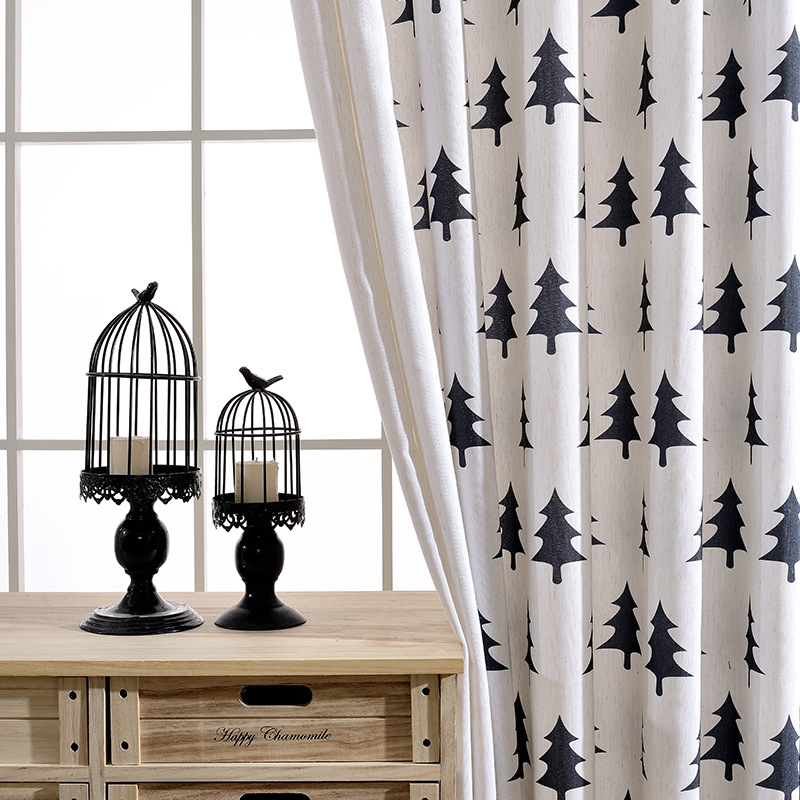 Modern Cartoon Black White Tree PrintingHigh Shading Curtains For ...