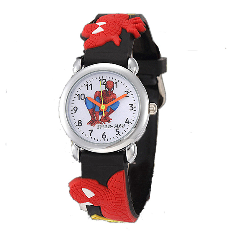 Boys Baby Superman Children Watches Lovely Girl Pink Clocks Cartoon Kids Dress Saats 3D Rubber Strap
