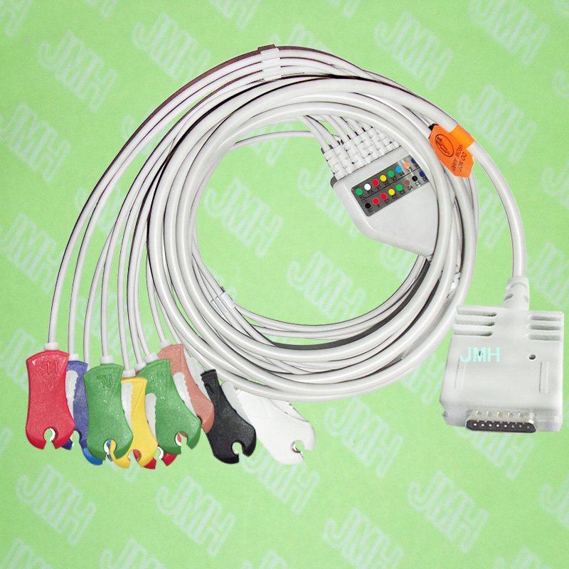 Compatible with 15 PIN Burdick EK-10 EKG patient monitor Machine the One-piece 10 leads cable and  Clip leadwires,IEC or AHA.Compatible with 15 PIN Burdick EK-10 EKG patient monitor Machine the One-piece 10 leads cable and  Clip leadwires,IEC or AHA.