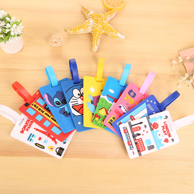Silicone Luggage Tags Travel Accessories Japanese Anime Cute Cartoon Portable Travel Label Suitcase Baggage ID Name Tag Gifts