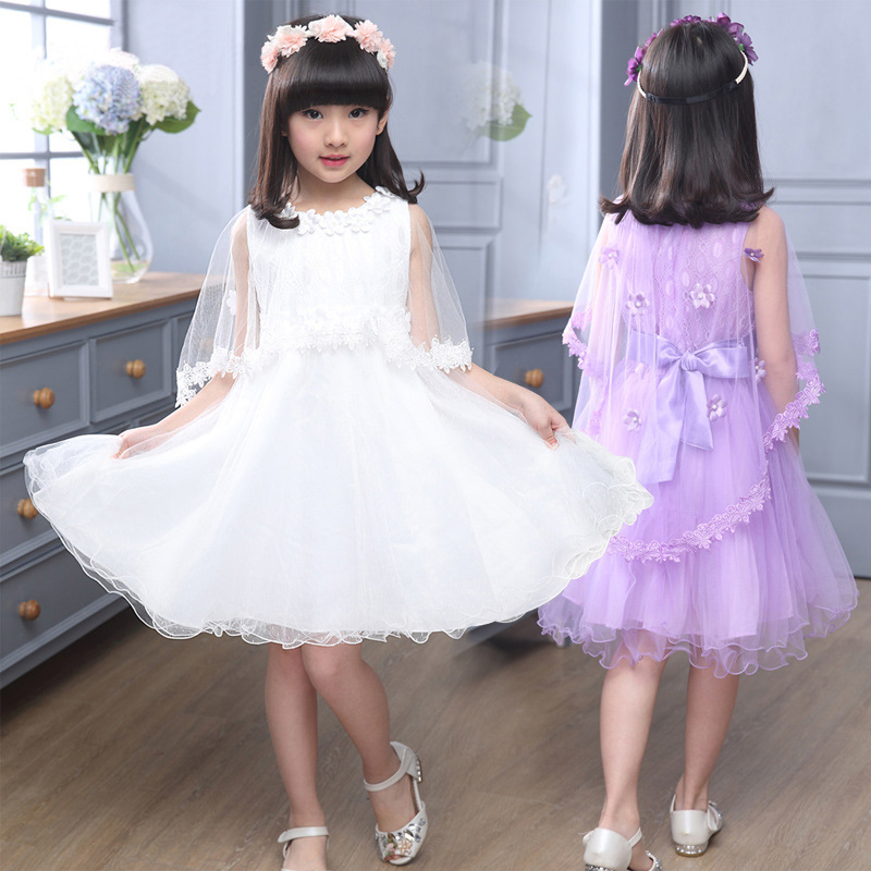 2017 summer kids party floral dresses for girls white pink purple mesh midi long little teenage girls princess dress kid clothes metting joura vintage bohemian ethnic colored seed beads flower rhinestone handmade elastic headband hair band hair accessories