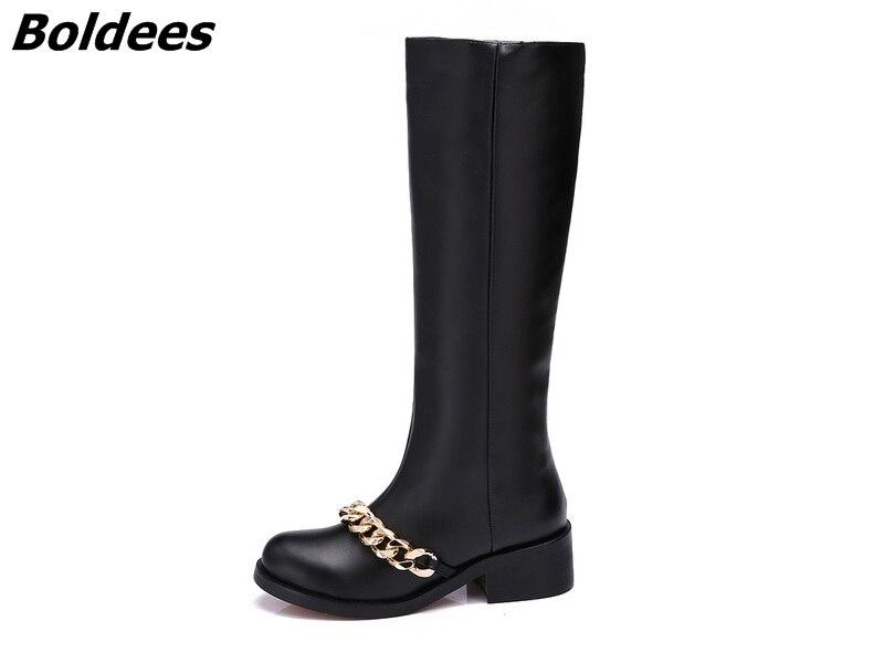 Rond Zipper Talon Chunky Beige Faible Automne En Botte Noir Argent Chaîne Chaussures Chaussons Femmes Mode Or Moto Bottes Cheville Bout Cuir noir De Yqw4ddC