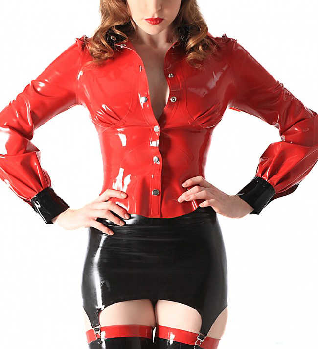 0.6MM Latex Rubber Coat Long Sleeves Red Shirt Blouse For Women (No Skirt)