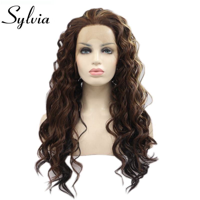 Sylvia Heat Resistant Women Hair Mixed Brown Natural Long Curly Synthetic Lace Front Wig Free Part