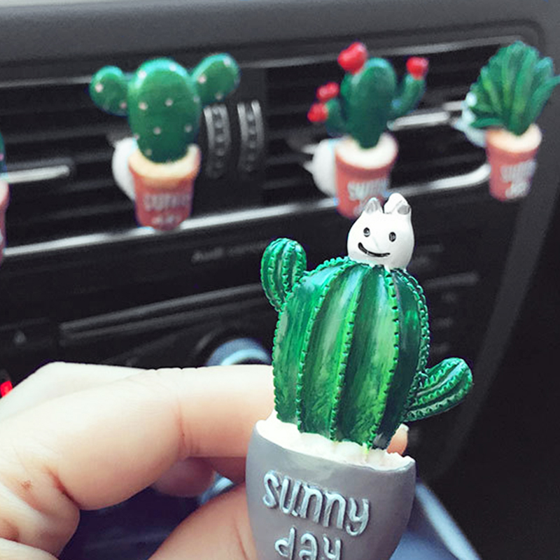 Car Air Conditioning Vent Perfume Clip Resin Cactus Creative Cute Air Freshener Fragrance Clip Solid Balm Decoration Ornaments