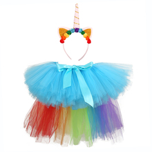 Rainbow Tutu Unicorn Skirt Baby Knee Length Birthday Party with Long Tail and Headband Little Girl Pony