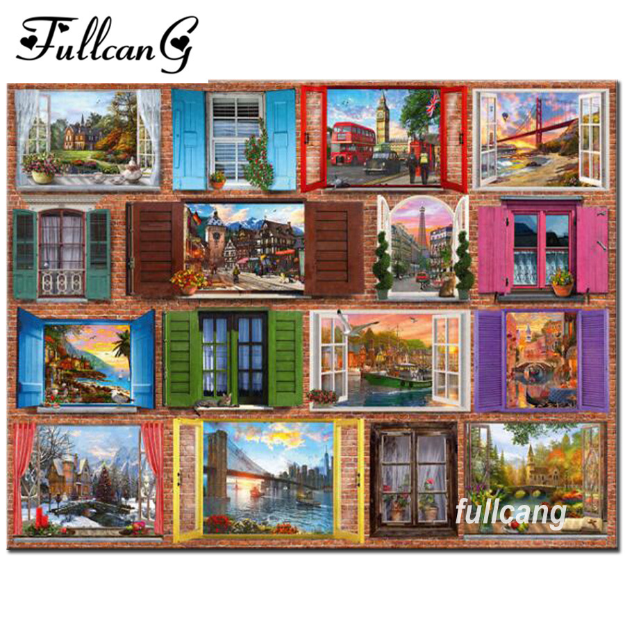 FULLCANG diy 5d diamond painting cross stitch scenery outside window diamond embroidery picture full square diamonds F908