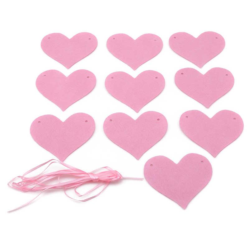 Amore Corde Feltro Cuore Bunting Banner Wedding Bunting Bandiere Vintage Partito Del Bambino Mostra Ghirlanda Decorazione