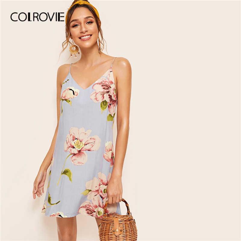 Colrovie azul floral imprimir duplo v neck shift cami boho vestido feminino 2019 verão marinha sem mangas férias praia vestidos curtos
