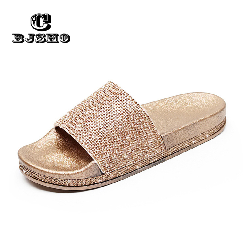 Summer Solid Flat Rhinestone Bling Slippers Home Indoor Women Non-slip Crystal Slippers Beach Flip Flops Women's Slides Shoes