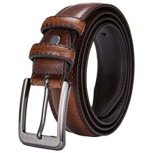 Genuine Leather Belt Alloy Pin Buckle Luxury Yellow Barry.Wang Fashion High Quality Waist Knitted Belts For Men SZ-2001