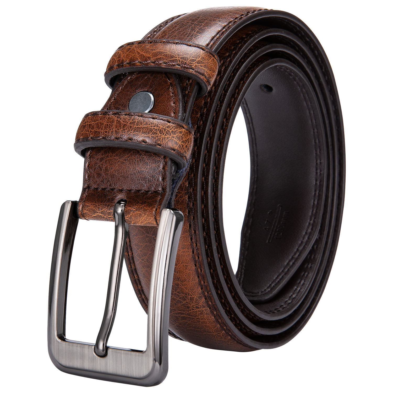 Genuine Leather   Belt   Alloy Pin Buckle Luxury   Belt   Barry.Wang Fashion High Quality Brown And Blue Waist   Belts   For Men SZ-2001