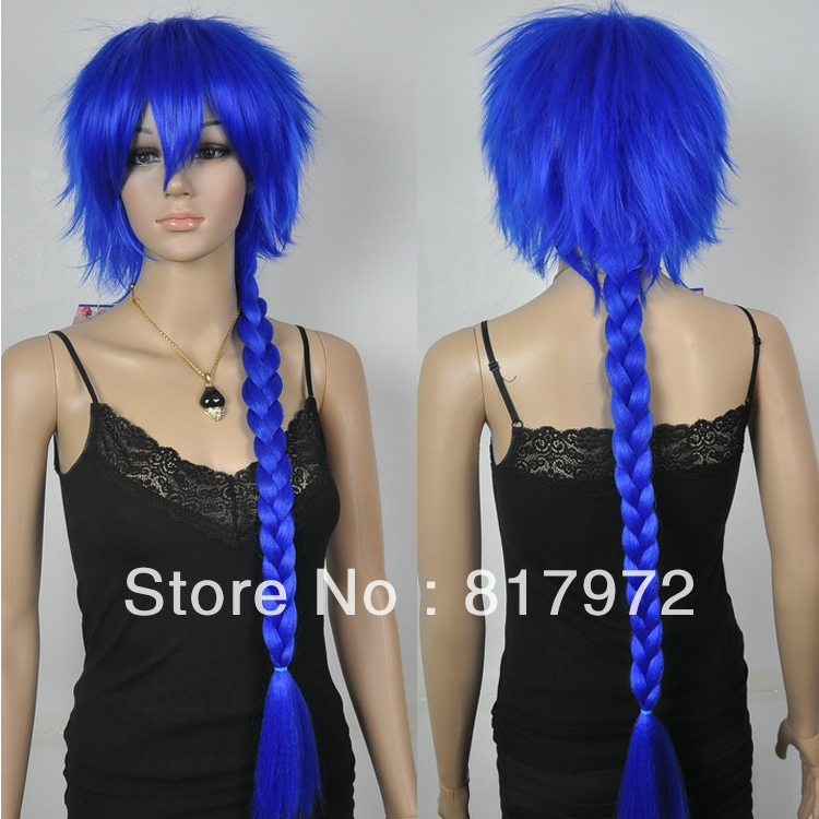 75cm Charm Punk Rock Blue White Short Inlay Long Tress Cosplay Wig