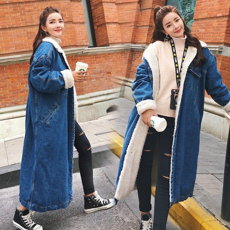2017 Winter Denim Coat Women  Single Breasted Jeans Jackets Thicken Lambswool Parka Warm Blue Denim X-long Outwears single sided blue ccs foam pad by presta