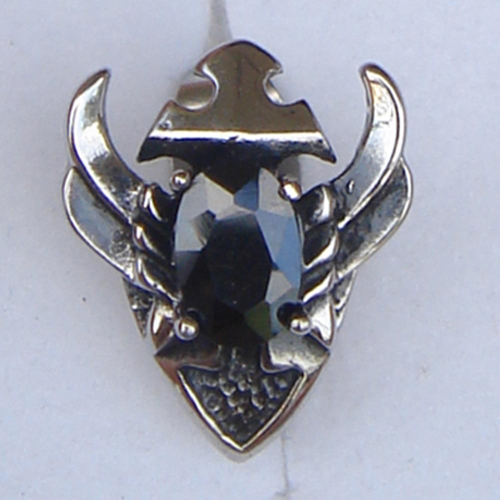 men jewelry cool men/boys wing sword black cz 316L stainless steel earring stud punk