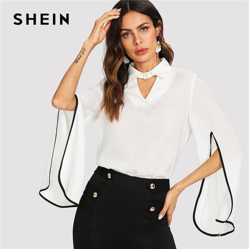 SHEIN Weiß Elegante Arbeitskleidung Keyhole Vorder Split Volant Langarm Ausschnitt V-ausschnitt Bluse Sommer Frauen Wochenende Freizeithemd Top