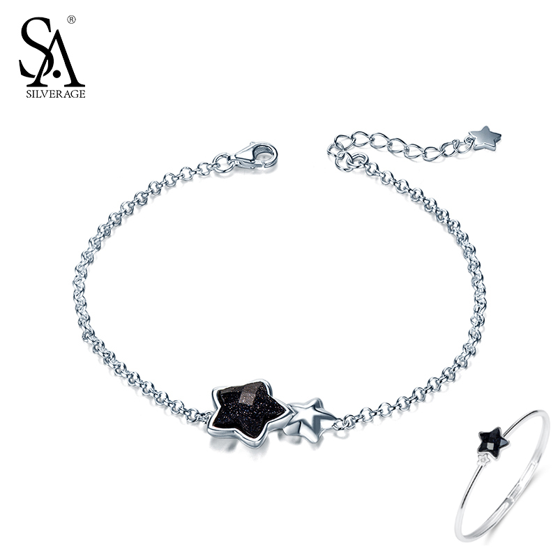 SA SILVERAGE Crna Gemstone Star Narukvice i Bangles za žene 925 - Fine nakit - Foto 5